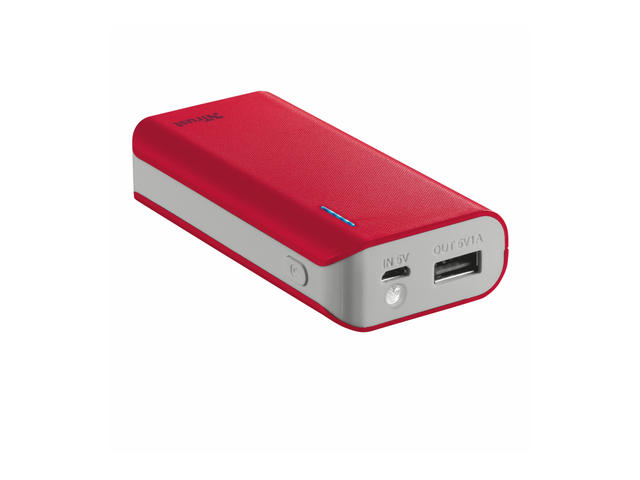 Батерии TRUST Primo Power Bank 4400 mAh, в червено
