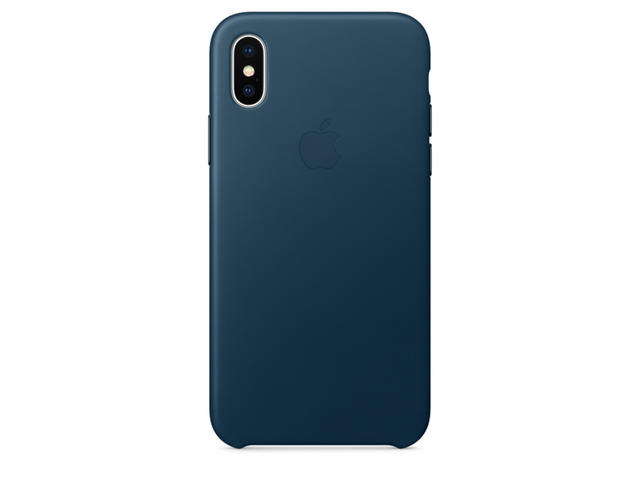 Калъфи Apple iPhone X Leather Case, в синьо